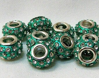Large Hole Beads in Green Color