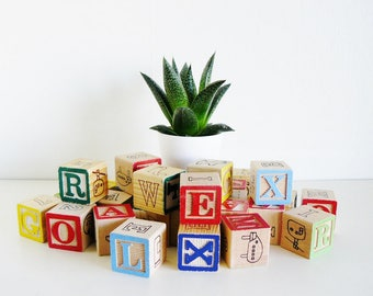 Vintage Alphabet Blocks Nursery Decor Photography Prop