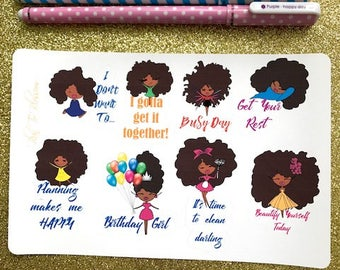 Functional Stickers| ADD ON| Sticker Sampler| Doodles| Planner Stickers| Planner Flair| African American Planner Stickers