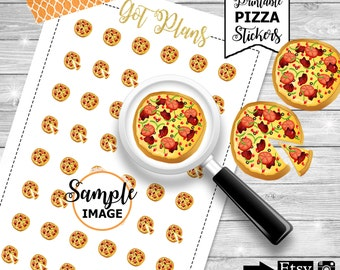 Pizza Stickers, Printable Planner Stickers, Pizza Planner Stickers, Pizza Night Stickers