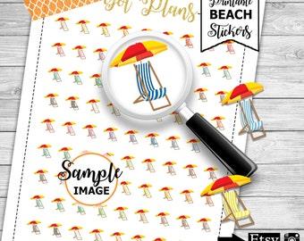 Beach Planner Stickers, Printable Stickers, Beach Stickers, Agenda Stickers, Printable Planner Stickers, Scrapbook Stickers