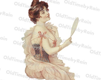 Instant PNG Digital Download/Vintage Women/Victorian Lady With Mirror/Lady Delicate Victorian Romantic