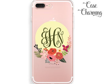 Clear iPhone Case Monogram iPhone 7 Case Floral iPhone 7 Plus Case iPhone 6 Case iPhone 6s Case iPhone 6 Plus Case Clear iPhone 6s Plus Case