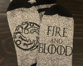 House Targaryen Game of Thrones Inspired Thermal Socks READY TO SHIP Winter Lannister Stark GoT