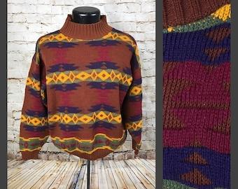 Vintage 80's JJ Browne Geometric Navajo Sweater - Rust Colored Sweater