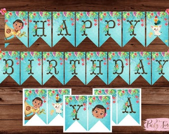 Moana Banner - Moana Birthday Banner - Moana Flags Banner.  INSTANT DOWNLOAD