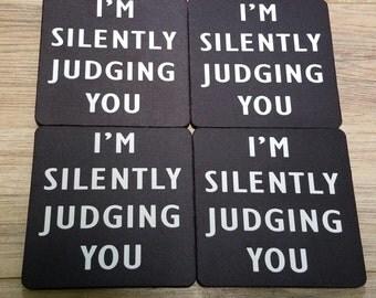 Silently Judging You Fabric Coaster Individual/Set
