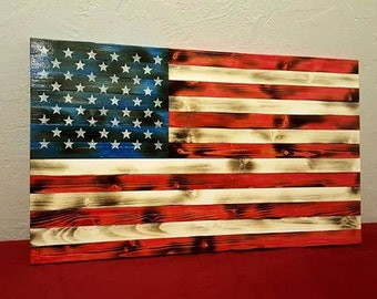 Rustic Wood American Flag - Distressed Flag - Wood Flag - Wooden Flag - Charred Wood Flag - Wood Burned Flag - Burnt Flag - American Flag