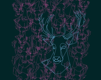 Green and pink stag - Giclee print