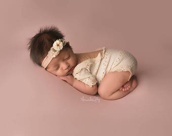Newborn v-neck romper / photography prop