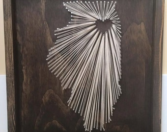 State string art texas nail and string art tx string wall string art state string art illinois state string art illinois decor illinois prinsesfo Image collections