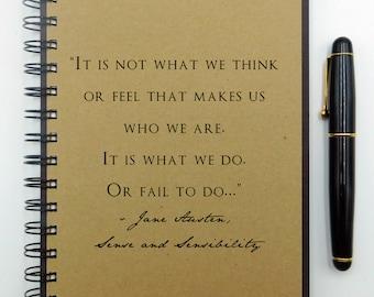 Writing Notebook, Jane Austen Notebook, Hardcover Journal, Spiral Notebook, Writing Journal