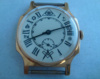 Pobeda watch, masonic watch, soviet watch, ussr watch, military watch, mens watch, russian watch, wrist watch, retro watch