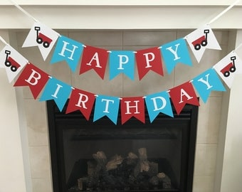 Wagon Birthday Banner, Happy Birthday Banner, Red Wagon, Birthday Party Banner, Red and Blue, Little Red, Boy Birthday, Photo Prop