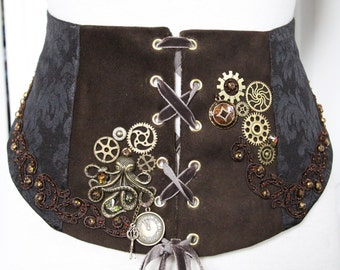 Cincher Brown Steampunk corset leather and Brown Brocade, brodee steampunk corset belt