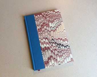 Hand bound A5 blank Journal notebook blue bookcloth and marble paper hardback bookbinding book gift