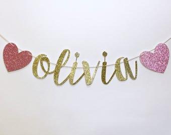 Glitter name banner, Glitter baby shower banner, custom name banner, custom glitter name, baby shower decorations, glitter decorations