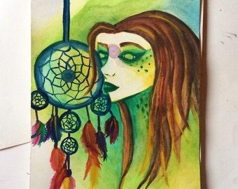 Watercolor (27 X 35) original. Woman with catch Druid dreams