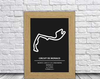 Circuit de Monaco Track Art | Monaco Race Circuit Race Track Artwork | Circuit de Monaco Race Track Art | Formula 1 Track Art