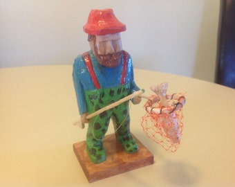 Hand carved fisherman, fisherman carving, fishing carving, wood carving, carved fisherman, fisherman, men's gift, Wood carving, handmade,