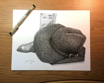 Stippled Cowboy Boot and Cowboy Hat // western // stippling // dots // ink // pointillism // black and white // boot // shoe // hat drawing