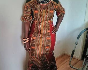 Dashiki Dress with peplum