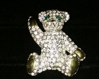 "Beautiful "" BEAR "" Jeweled brooch /pin"