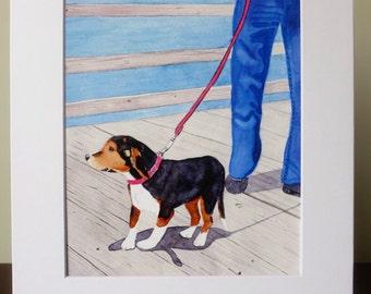 Beagle Portrait Watercolor Print, Beagle Lover, Animal Lover, Ocean, Beagle, Dog Lover, Home Decor, Good Cause Item, Donation, Animal Rescue
