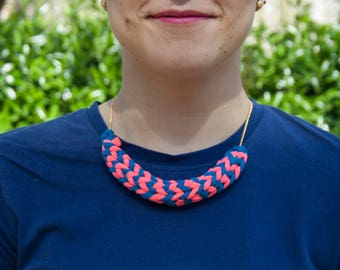 Blue Pink Necklace | Blue Knit Necklace, Pink Knit Necklace, Knitted Necklace, Chunky Necklace, Summer Accessory, Young Accessory