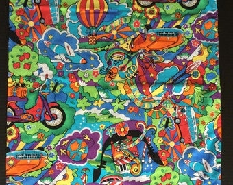 2 Psychedelic Pillowcases Groovy Van Hippie Colourfully Vibrant Flowers Peace