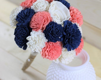 Navy, Coral and Ivory Bouquet,Sola Flower Bouquet,Wooden Flowers, Rustic Wedding,Country Wedding,Decorations, Home Decor, Wedding Bouquet