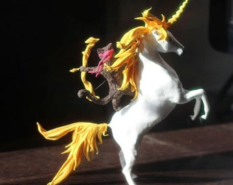 "Figurine ""cat Archer on the unicorn"",unicorn,cat,figurine,sculpture"