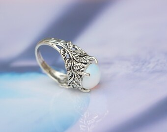 white opal stone branch ring gift for her C312R-1-S-US8