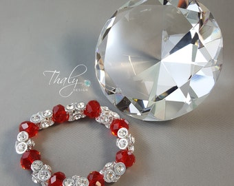 Fancy Silver and Red Crystal Bracelet