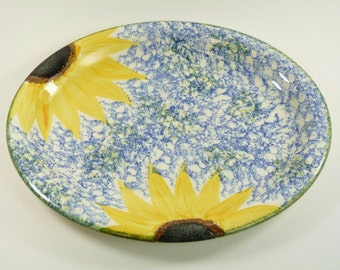 POOLE Pottery - VINCENT SUNFLOWER - Platter / Platters - 14 1/2""