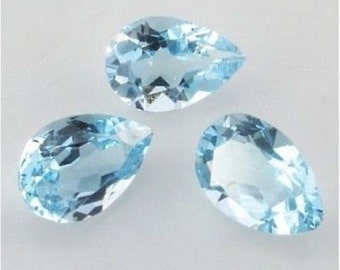 Lot of 10 pcs. AAA natural Sky Blue Topaz Pear cut faceted loose gemstone with free shipping