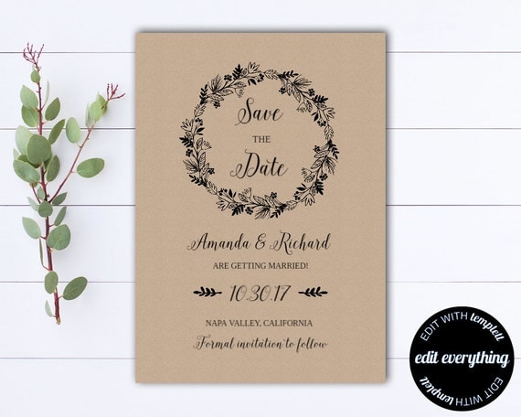 diy save the date magnets template - rustic save the date wedding template diy save the date card