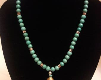 Beautiful Magnesite and copper necklace