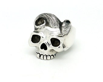 "Skull Ring, Silver Skull Ring, 925 Sterling Silver ""The Madame"" Skull Ring, Unique Skull Jewellery"