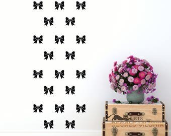 WALL DECAL BOWS, Set of  Bows, 3, 4 or 5 inches, Nursery, Kids, Living Room, Bedroom Wall Decal, Custom Size and Colour, Removable Vinyl
