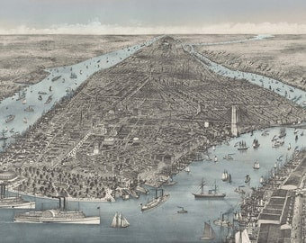 A bird's-eye Antique Map of New York City 1886