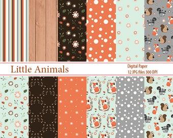 Forest digital paper, cute animals paper, digital paper pack