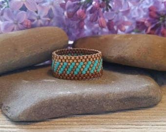 Peyote Ring Delica Seed Bead Ring Beaded Ring Delica Ring Beaded Band Ring Peyote Beaded Ring Seed Bead Band Ring Wide Band Ring Delica Ring