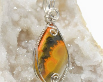 Stunning Sterling Silver Bumbebee Jasper Wire Wrapped Pendant