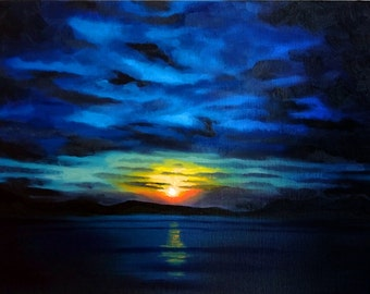 Sunset Oil Painting, Original Artwork, Oil on Canvas, 16x12 inches, 40.5x30.5 cm., Seascape, Landscape, Dramatic Sky, Sea, Clouds