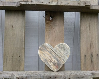 Small Wooden Heart Decor - Rustic Valentine's Day Gift - Pallet Wood Heart Sign - Reclaimed Wood Heart Wall Hanging