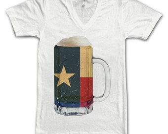 Ladies Texas State Flag Beer Mug Tee, Home State Tee, State Pride, State Flag, Beer Tee, Beer T-Shirt, Beer Thinkers, Beer Lovers Tee