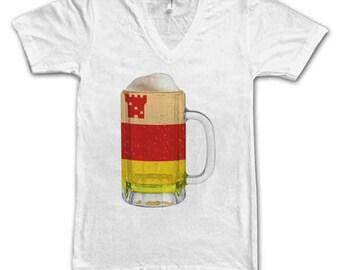 Ladies Santa Barbara City Flag Beer Mug Tee, Home Tee, City Pride, City Flag, Beer Tee, Beer T-Shirt, Beer Thinkers, Beer Lovers Tee, Fun