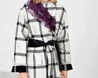 Reversible plaid coat with adjustable belt
