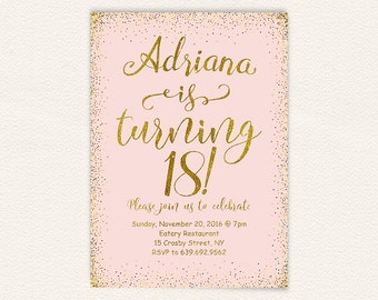 18th birthday, pink and gold, 18th birthday party, birthday invitation, birthday party, printable invitation, 18 years old,happy birthday 27